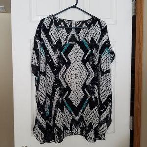 Studio Works Sz L Top Shirt Blouse Black Ivory Flo